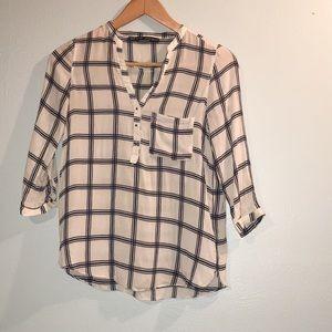 Zara Basics Cream and Black 3/4 sleeve Shirt